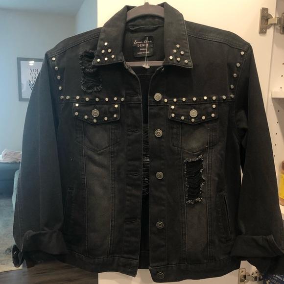 Jackets & Blazers - Never worn black distressed jean jacket